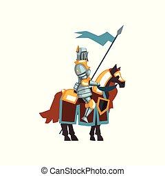blu, guerriero, vettore, presa a terra, appartamento, tutore, mano., seduta, età, groppa, mezzo, bandiera, kingdom., coraggioso, cavaliere, cartone animato, icona