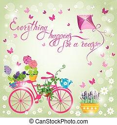 blu, happens, bicicletta, card., tutto, cielo, immagine,...
