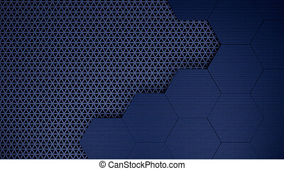 Blu hexagons grid template background 3d illustration