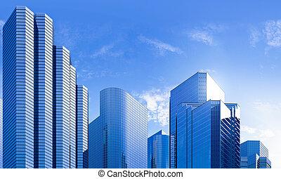 blu, highrise, vetro, grattacielo, orizzonte