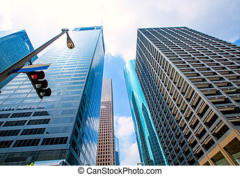 blu, houston, grattacieli, cielo, centro, specchio, disctict