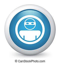 blu, icon., vettore, lucido