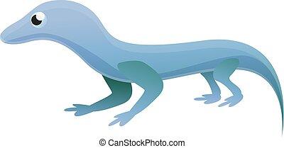 blu, icona, lucertola, stile, cartone animato