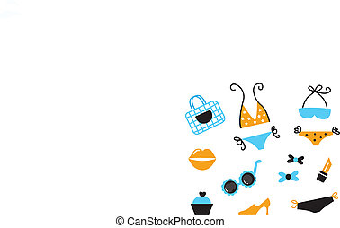 blu, icone, -, accessori, isolato, bikini, retro, bianco, ora