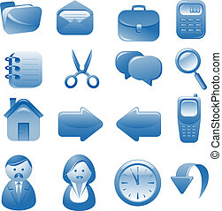 blu, icone, set