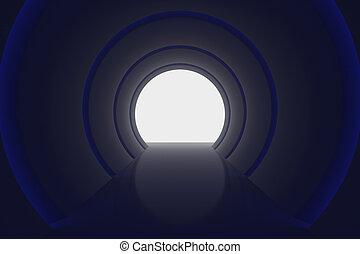 blu, illuminato, luce, lucente, interpretazione, lucido, corridoio, vuoto, 3d