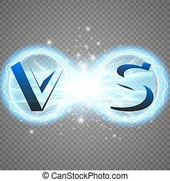 blu, illustration., strength., fondo., s, energia, light., isolato, sfavillante, due, collisione, caldo, vettore, elettrico, forze, v, scarico, freddo, lampo, trasparente, rosso