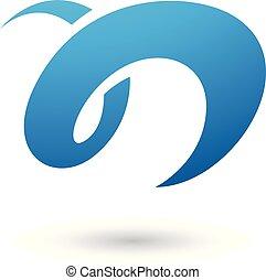 blu, illustrazione, n, curvy, vettore, lettera, divertimento
