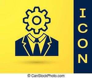 blu, illustrazione, testa, dentro, ingranaggio, fondo., pensare, segno., lavoro, intelligence., isolato, giallo, cervello, vettore, brain., artificiale, umano, simbolo, icona