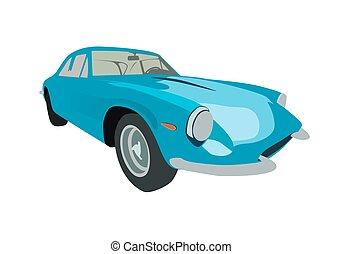 blu, illustrazione, vettore, automobile., retro, sport