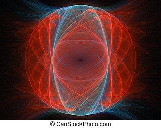 blu, immagine, pianeta, finto, arancia, nero, fractal