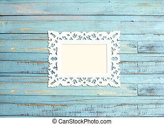blu, immagine, vendemmia, cornice, legno, fondo, bianco