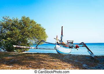 blu, indonesiano, tradizionale, mare, spiaggia, barca