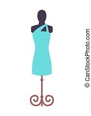 blu, indossatrice, vettore, vestire, illustrazione