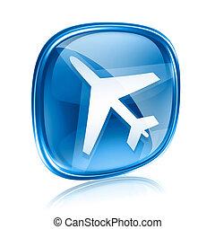 blu, informazioni, isolato, fondo., vetro, bianco, icona