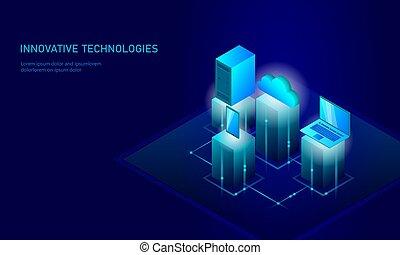 blu, informazioni, isometrico, smartphone, affari, technology., personale, concept., magazzino, ardendo, illustrazione, infographic, pc, collegamento, vettore, sicurezza, futuro, dati, nuvola, 3d