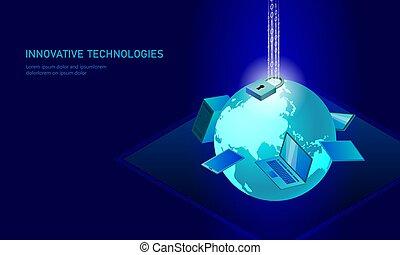 blu, informazioni, isometrico, smartphone, affari, technology., personale, serratura, concept., ardendo, illustrazione, infographic, pc, collegamento, vettore, sicurezza internet, futuro, dati, 3d