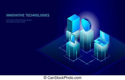 blu, informazioni, isometrico, smartphone, scudo, affari, technology., personale, concept., ardendo, illustrazione, infographic, pc, collegamento, vettore, sicurezza internet, futuro, dati, 3d