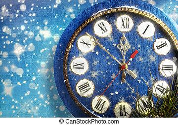 blu, innevato, fondo, orologio