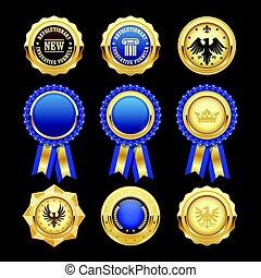 blu, insegne, araldico, premio, rosette, medaglie