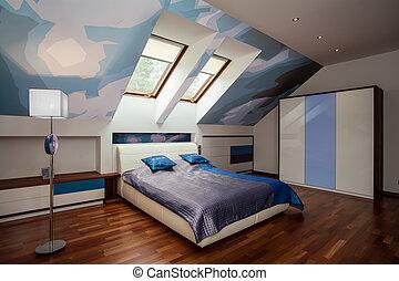 blu, interno, bianco, camera letto