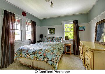 blu, interno, brown., camera letto