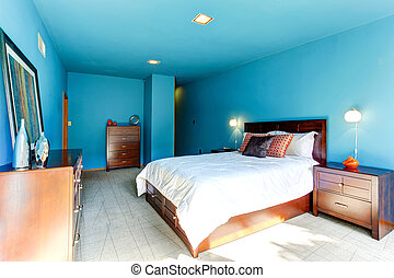 blu, interno, camera letto