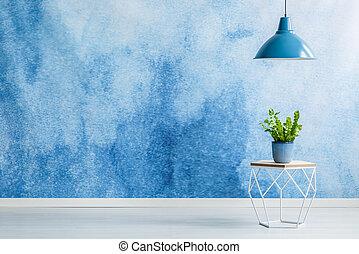 blu, interno, stanza, vuoto