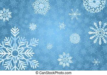 blu, inverno, bakground, con, snowflakes.