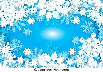 blu, inverno, fondo, con, fiocchi neve