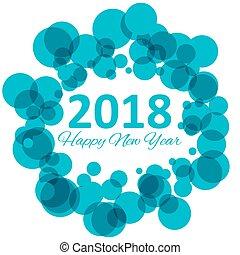 blu, inverno, modello, bokeh, vettore, 2018, fondo, anno,...