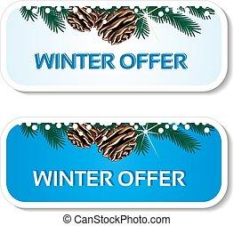 blu, inverno, -, offerta, vendita, etichetta, carta, vettore, fondo, bianco, ramoscello, adesivi, natale, pinecones