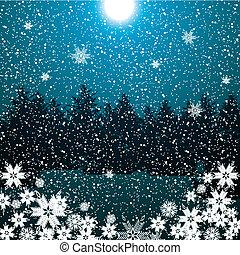 blu, inverno, scuro, foresta, fondo, notte