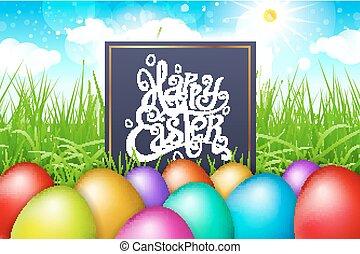 blu, iscrizione, colorito, sky., uova, moderno, calligrafia, campo, vettore, erba, pasqua, felice