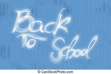 blu, iscrizione, scuola, fatto, parole, fuoco, indietro, fondo, bianco, cartone
