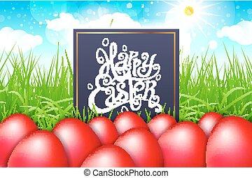 blu, iscrizione, sky., uova, moderno, calligrafia, campo, vettore, erba, pasqua, rosso, felice