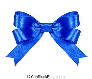 blu, isolato, arco, fondo, raso bianco