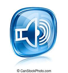 blu, isolato, fondo., altoparlante, vetro, bianco, icona