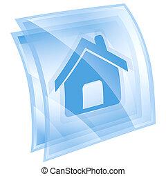 blu, isolato, fondo, casa, bianco, icona