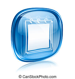 blu, isolato, fondo., quaderno, vetro, bianco, icona