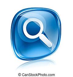 blu, isolato, fondo., vetro, magnificatore, bianco, icona