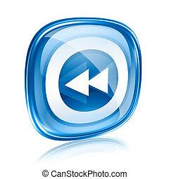 blu, isolato, fondo., vetro, riavvolgere, bianco, icona