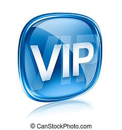 blu, isolato, fondo., vip, vetro, bianco, icona