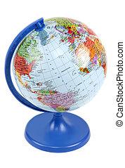 blu, isolato, globo, stare in piedi, fondo, bianco