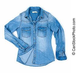 blu, isolato, jean, camicia, bianco