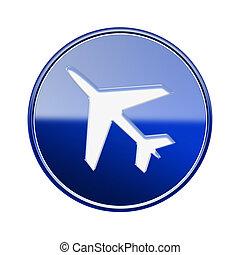 blu, isolato, lucido, fondo, aeroplano, bianco, icona