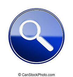 blu, isolato, lucido, fondo, magnificatore, bianco, icona