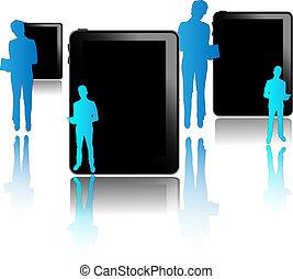 blu, isolato, nero, uomini affari, fondo, tavolette, bianco