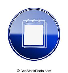 blu, isolato, quaderno, lucido, fondo, bianco, icona