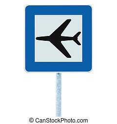 blu, isolato, segno, aeroporto, traffico, signage, aeroplano, strada, icona